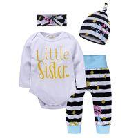 Bebek Kız Yenidoğan Giysi Çiçek Tops T-shirt Romper + Uzun Pantolon + Şapka Kap Bandı Kıyafetler 4 adet / takım