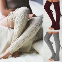 여성 겨울 크로 셰 뜨개질 니트 스타킹 다리 따뜻하게 부팅 허벅지 높은 양말 팬시