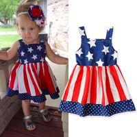 crianças Independência Vestido Dia meninas stripe Baby Star bandeira suspender mangas de impressão Princesa americana US veste LJJA234