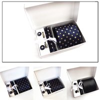 Mens Wide Formal Ties Necktie Sets Cufflink Hanky Clips Cust...