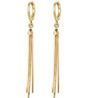 (692E) Altın Kaplama 18 k Bırak Snke Zincir Püskül Küpe Kadınlar Için Moda XP Takı