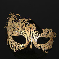 Máscara hthomestore Gold Crown Venetian metal Laser Cut casamento da máscara Dança Cosplay Costume Party
