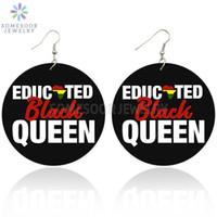 SOMESOOR Afro Eductaed Черная Королева Деревянный Африканский серьги 6CM плоские круглые персонализированный Printed древесины уха ювелирные изделия для женщин Подарки