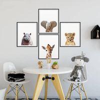 사파리 아기 동물 캔버스 포스터 보육 사자 호랑이 벽 아트 북유럽 아이 침실 장식 그림을 그리기 현대 동물 인쇄하기