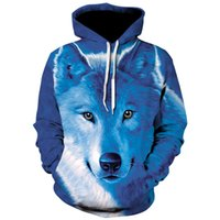 Новые мужские Wolf 3D Animal Printed Hooded Толстовки Мужчины / Женская мужская одежда 2019 хип хоп синий моды Толстовки Harajuku Толстовка
