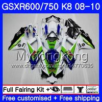 Corpo per SUZUKI GSX-R600 GSXR 750 600 600CC verde bianco GSXR600 08 09 10 297HM.19 GSX R600 R750 GSX-R750 K8 GSXR750 2008 2009 Carenatura