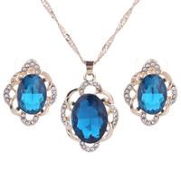 Set di gioielli da sposa Pendenti di cristallo Collane Orecchini Set di fidanzamento Set di gioielli da festa di nozze