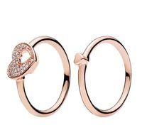 18K 로즈 골드 반짝이 퍼즐 심장 프레임 반지 Pandora 925에 대 한 원래 상자 925 스털링 실버 여성 커플 결혼 반지 세트 W169