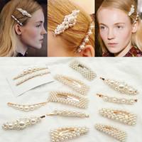 Moda Pérola Grampo de Cabelo para As Mulheres Elegante Design Coreano Snap Barrette Vara Hairpin Hair Styling Acessórios