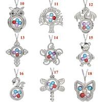 Magnetyczny motyl Dragonfly Kwiat Kwiat Szkło Żywy Medalion Wisiorek Pearl Cage Pływający Charms Naszyjnik z łańcuchem stalowym