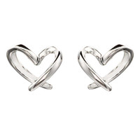 100% 925 Sterling Silver Love Heart Shape Stud Earrings For ...