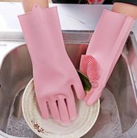 1 par de borracha de silicone Magia Luvas Dish lavar roupa Eco-Friendly purificador limpeza para multiuso cozinha casa de banho Luvas de transporte gratuito