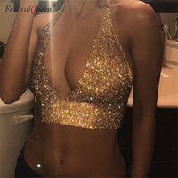 FestivalQueen sexy Luxus ausgeschnitten tiefem V-Ausschnitt Tank Top Frauen 2018 neue Pailletten Sommer glänzenden Strass Metall Backless Crop Tops J190425