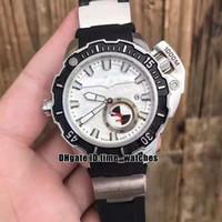 NEW 맥시 마린 다이버 3203-500LE-3 / 93 HAMMER 자동 남성 화이트 다이얼 빅 크라운 검은 색 고무 스트랩 높은 품질의 신사 스포츠 시계를보고