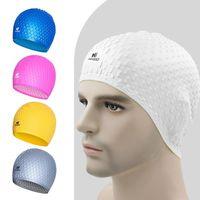 قبعة السباحة سيليكون قبعات السباحة للماء تحمي آذان النساء الشعر الطويل للماء الرياضة السباحة بركة قبعة DH1131