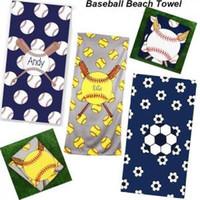 Baseball Beach Handduk Rektangel Softball Fotboll Sport Handduk Mikrofiber Badhanddukar Blanketter Superfine Fiber Swaddling 150 * 75cm GGA1579