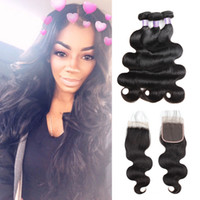 Wholesale ola corporal barato 8A paquetes de pelo brasileño con cierre 3 unids Malasian Virgin Hair peruano Indian Hair Extensions