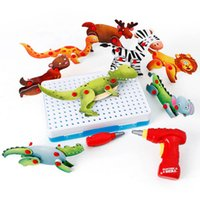 123PCS Electric Children Tool Animals Toys Drill Screws 3D P...