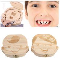 الأسنان طفل صندوق تخزين للأطفال حفظ الحليب الأسنان بنين بنات صورة خشبي منظم نفضي الأسنان صناديق هدية الإبداعية للأطفال السفر أطقم