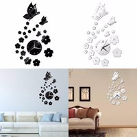 2017 New 2 Colors Mirror Wall Stickers 3D Clock Butterfly Pa...