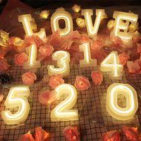 USB batterry LED Harf Gece Işığı Işık Alfabe Pil Ev Culb Duvar Dekorasyon Parti Düğün Doğum Dekor Sevgililer Günü Hediye 4.8
