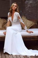 2020 Two Pieces Mermaid Wedding Dresses Deep V Neck Applique...