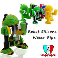 Robot silicone water pipe with glass bowl mini bongs detacha...