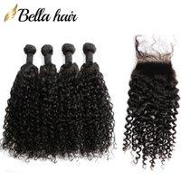 Bundles de cheveux malaisiens avec fermeture en dentelle Vague frisée Vierge Hair Weave Couleur naturelle 5PC / Lot 8-34 pouces