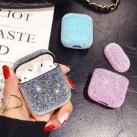 Bling diamantes de lujo del caso del caso para el AirPod colores lindos del caramelo cubierta protectora chica diseñador para Airpods Casos femenina Accesorios Mujer