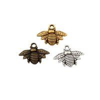 La plata antigua MIC 150pcs / oro / bronce de aleación de zinc encantador de la abeja colgantes de los encantos de la joyería DIY 16x20mm Fit pendientes del collar pulseras