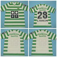 2003 2004 Sporting CP Lissabon Retro Fußball-Jersey-Männer Cristiano 28 RONALDO Luis Figo Liedson Bento Startseite Grün-Fußball-Hemd-Kits