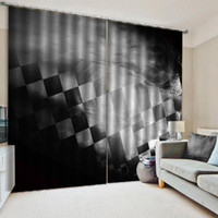 Vorhang für Küche Standard-Retro Schwarzweiss-Quadrat geometrische Figur Dekorative Innen Schöne Blackout Vorhänge