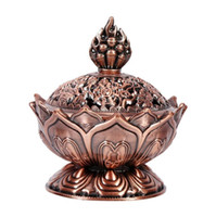 Chinese Buddha Alloy Räuchergefäß Lotus Flower Incense Holder Handmade Räuchergefäß für buddhistische Home Office Dekoration 2 Farben