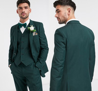 Custom Made Designer Two Button Dark Green Groom Tuxedos Gro...