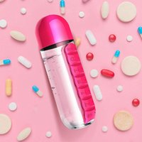 2 in 1 Pill Box Water Bottle Outdoor 7 Compartments Medicine Organizer With Drinking Bottle Portable Carrying Tablet