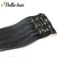 Скидка модный клип в / на волосах натуральные прямые прямые европейские человеческие волосы ткани # 1 цветные волосы девственницы 20 дюймов 100 г / набор Bellahair