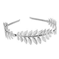 Mode vergoldet Metall Blatt Stirnband Haarband für Frauen Hochzeit Haarschmuck Tiara elegante Silber Blätter Kopfschmuck