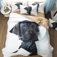 3D Dog Bedding Set Cute Black Dog Animal Pattern Duvet Cover...