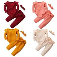 Baby Mädchen Outfits Anzug 4 Farbe Kleinkind Ruffer Langarm Strampler Tops Kinder Designer Kleidung Mädchen Baumwollhosen Stirnband Kinder Casual Set