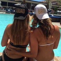 Gold Print Bride Tribe / Squad Mesh Baseball Casquette Femmes Mariage Party Hat Marque Bachelor Club Team Snapback Capback Summer Beach WCW478