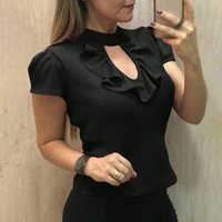 2019 Summer Women Office Lady Blouses Fashionshort Sleeve Ru...