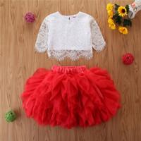 Kinder-Kleidung Set 2 Stück weiße Spitze-Spitzen T + Mesh Tutu Prinzessin-Kind-Mädchen-Kleidungs-Satz