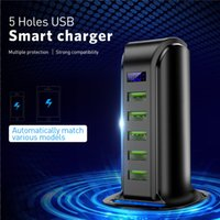 USB 충전기 LED 디스플레이 5 포트 빠른 충전기 멀티 USB 충전 스테이션 도크 유니버설 휴대 전화 데스크탑 벽 홈 EU 영국 US 플러그 도매