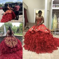 Customize Red Quinceanera Dresses Sweetheart Gold Lace Embro...