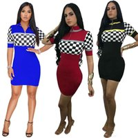 Women Summer Plaid Mini Dress Stand Collar Zipper Print Sexy...