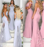 Lavender Dusty Pink Bridesmaid Dresses Sheath Lace Applique Maid Of Honor Dresses Halter Spaghetti Straps Off The Shouder Sweep Train Formal