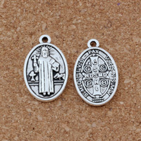 Jésus Christ Religion Alliage Charme Pendentifs Bijoux Bricolage Fit Bracelets Collier 100Pcs / lot Argent Antique 15.5x25mm A-440