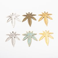 10pcs Antique tibetan silver plated maple leaf charms gold d...