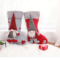 Рождественские чулки держатели с 3D шведский Гном кукла Рождественская елка висит кулон камин украшения праздничные украшения подарки JK1910