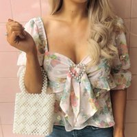 2019 Le più nuove donne Vintage Sexy camicetta Top mezza manica fiore stampato donna Top Holiday e Vocation Crop Top camicetta